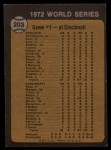 1973 Topps #203   -  Gene Tenace / George Hendrick / Johnny Bench 1972 World Series - Game #1 - Tenace the Menace Back Thumbnail
