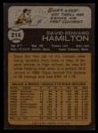 1973 Topps #214  Dave Hamilton  Back Thumbnail