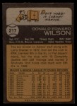 1973 Topps #217  Don Wilson  Back Thumbnail