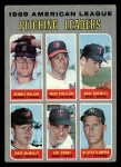 1970 Topps #70 COR  -  Dave Boswell / Mike Cuellar / Dennis McLain / Dave McNally / Jim Perry / Mel Stottlemyre AL Pitching Leaders Front Thumbnail