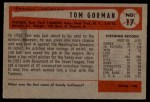1954 Bowman #17  Tom Gorman  Back Thumbnail