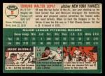 1954 Topps #5  Eddie Lopat  Back Thumbnail