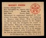 1950 Bowman #78  Mickey Owen  Back Thumbnail