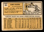 1963 Topps #505  Curt Flood  Back Thumbnail