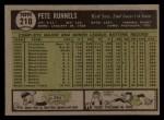1961 Topps #210  Pete Runnels  Back Thumbnail