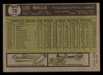 1961 Topps #78  Lee Walls  Back Thumbnail