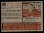 1962 Topps #41  Cliff Cook  Back Thumbnail