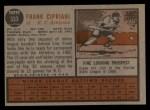 1962 Topps #333  Frank Cipriani  Back Thumbnail