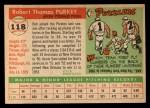 1955 Topps #118  Bob Purkey  Back Thumbnail