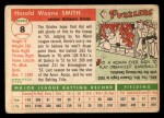 1955 Topps #8  Hal W. Smith  Back Thumbnail