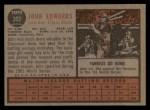 1962 Topps #302  Johnny Edwards  Back Thumbnail