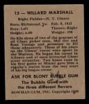 1948 Bowman #13  Willard Marshall  Back Thumbnail