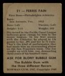 1948 Bowman #21  Ferris Fain  Back Thumbnail