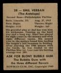 1948 Bowman #28  Emil Verban  Back Thumbnail