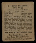 1948 Bowman #2  Ewell Blackwell  Back Thumbnail