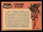 1966 Topps Batman Black Bat #10 BLK  Crime Czar Back Thumbnail