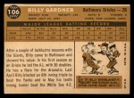 1960 Topps #106  Billy Gardner  Back Thumbnail