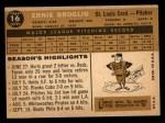 1960 Topps #16  Ernie Broglio  Back Thumbnail
