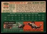 1954 Topps #141  Joey Jay  Back Thumbnail