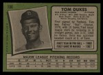 1971 Topps #106  Tom Dukes  Back Thumbnail