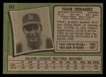 1971 Topps #468  Frank Fernandez  Back Thumbnail