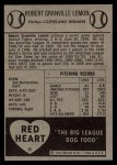 1954 Red Heart  Bob Lemon  Back Thumbnail