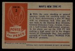 1954 Bowman Power for Peace #2   Navy's New Type PT Back Thumbnail