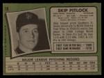 1971 Topps #19  Skip Pitlock  Back Thumbnail