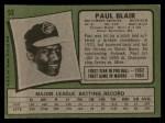1971 Topps #53  Paul Blair  Back Thumbnail