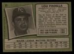 1971 Topps #35  Lou Piniella  Back Thumbnail