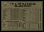 1971 Topps #332   1970 World Series - Summary - Celebration Back Thumbnail