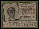 1971 Topps #157  Bob Bailey  Back Thumbnail