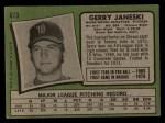 1971 Topps #673  Gerry Janeski  Back Thumbnail