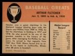 1961 Fleer #106  Art Fletcher  Back Thumbnail