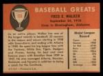 1961 Fleer #151  Dixie Walker  Back Thumbnail