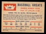 1960 Fleer #30  Chuck Klein  Back Thumbnail