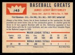 1960 Fleer #45  Jim Bottomley  Back Thumbnail