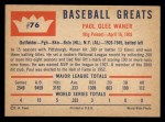 1960 Fleer #76  Paul Waner  Back Thumbnail