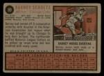 1962 Topps #89  Barney Schultz  Back Thumbnail