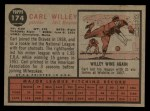 1962 Topps #174 CAP Carl Willey  Back Thumbnail
