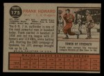 1962 Topps #175 NRM Frank Howard  Back Thumbnail