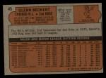 1972 Topps #45 ^COR^ Glenn Beckert  Back Thumbnail