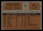 1972 Topps #637  Preston Gomez  Back Thumbnail