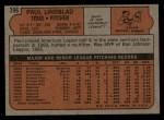 1972 Topps #396  Paul Lindblad  Back Thumbnail