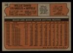1972 Topps #390  Willie Davis  Back Thumbnail