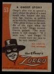 1958 Topps Zorro #53   Ghost Story Back Thumbnail