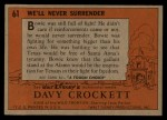 1956 Topps Davy Crockett #61 ORG  We'll Never Surrender  Back Thumbnail