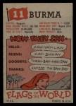 1956 Topps Flags of the World #11   Burma Back Thumbnail