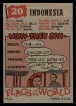 1956 Topps Flags of the World #20   Indonesia Back Thumbnail