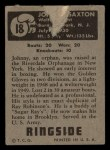 1951 Topps Ringside #18  Johnny Saxton  Back Thumbnail